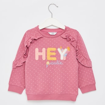 Printed Sweat Top with Long Sleeves and Frill Detail