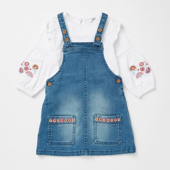 Embroidered Detail Long Sleeves T-shirt with Textured Pinafore