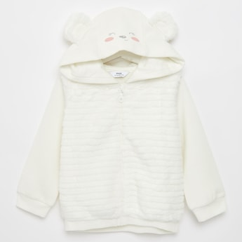 Textured Bear Hood Jacket with Long Sleeves and Zip Closure