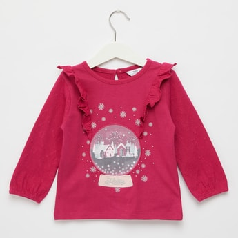 Snow Globe Textured T-shirt with Ruffle Detail and Long Sleeves