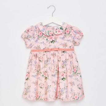 فستان بياقة عادية بيتر بان وطبعات أزهار وأكمام قصيرة