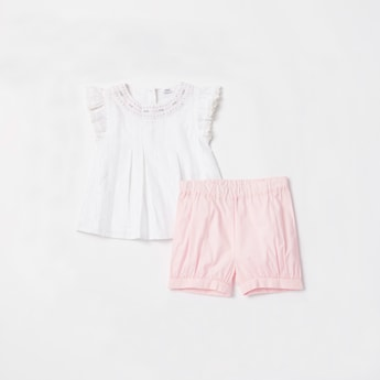 Pleated Top with Solid Shorts Set