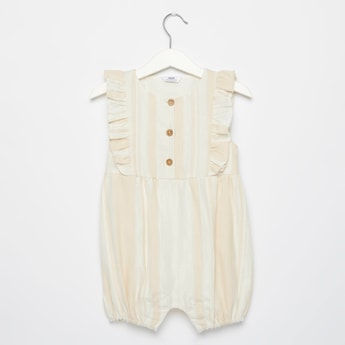 Striped Sleeveless Romper with Ruffle Detail