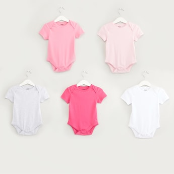 Set of 5 - Solid Bodysuit with Round Neck and Short Sleeves