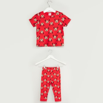 Set of 2 - Minnie Mouse Print Round Neck T-shirt with Jog Pants