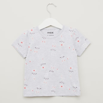 Bunny Print T-shirt with Round Neck and Short Sleeves