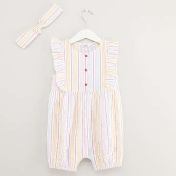 Striped Ruffle Detail Romper with Bow Applique Head Band