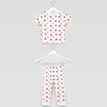 Minnie Mouse Print Round Neck T-shirt and Jog Pants Set