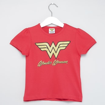 Wonder Woman Print T-shirt with Round Neck and Short Sleeves