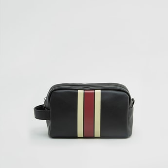 Striped Pouch with Zip Closure