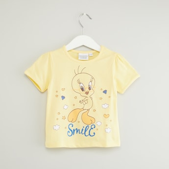 Tweety Printed T-shirt with Round Neck and Short Sleeves