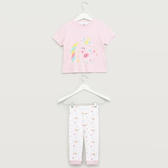 Unicorn Printed Short Sleeves T-shirt with Full Length Jog Pants