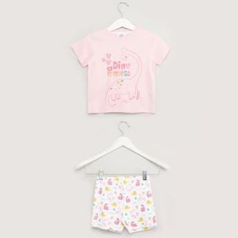 Dino Print Short Sleeves T-shirt with Shorts
