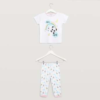Panda Print Short Sleeves T-shirt and Full Length Pyjama Set