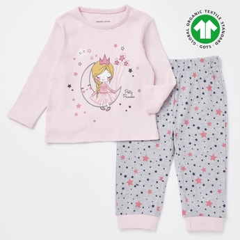 Pretty Princess Print GOTS Organic Cotton T-shirt and Pyjama Set