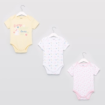 Set of 3 - Assorted Printed Round Neck Bodysuit