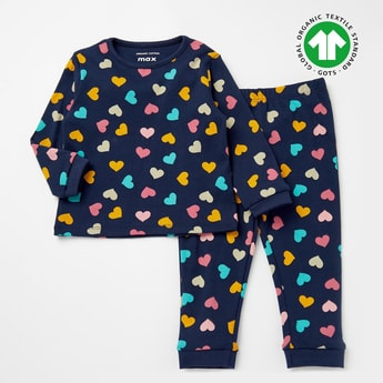 Graphic Print GOTS Organic Cotton T-shirt and Full Length Pyjama Set