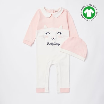 Embroidered Sleepsuit with Collar and Beanie Cap Set