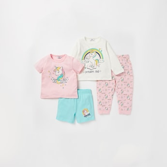 Unicorn Print 4-Piece Nightwear Set