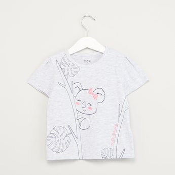 Koala Printed T-shirt with Round Neck and Short Sleeves