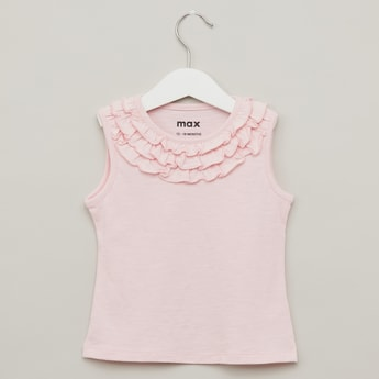 Solid Sleeveless T-shirt with Round Neck and Frill Detail