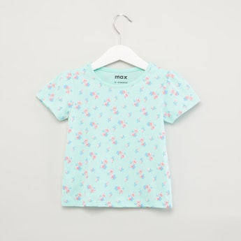Floral Printed T-shirt with Round Neck and Short Sleeves