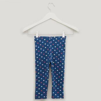 Polka Dot Print Leggings with Elasticised Waistband