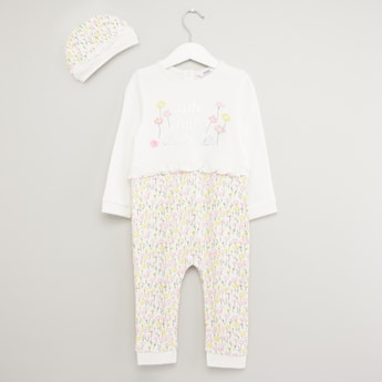 Embroidered Open Feet Sleepsuit with Floral Print Cap
