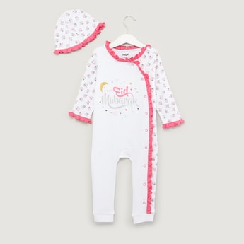 Printed Long Sleeves Sleepsuit with Beanie Cap