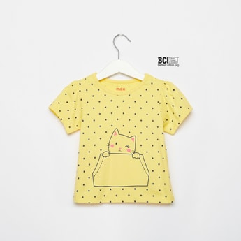 Star Print Round Neck T-shirt with Short Sleeves