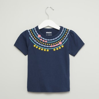 Necklace Print Round Neck T-shirt with Short Sleeves