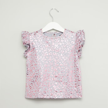 Animal Foil Print Round Neck T-shirt with Cap Sleeves