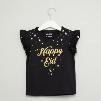 Happy Eid Print Round Neck Top with Cap Sleeves