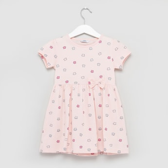 Cat Printed Dress with Short Sleeves