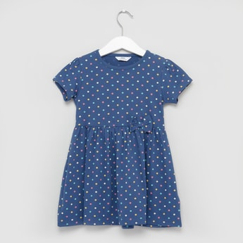Polka Dot Printed Dress with Round Neck and Short Sleeves