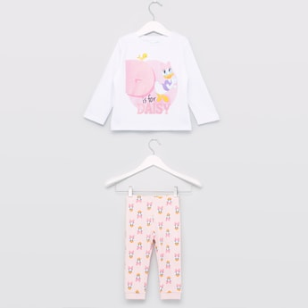 Daisy Printed Round Neck T-shirt with Full Length Jog Pants