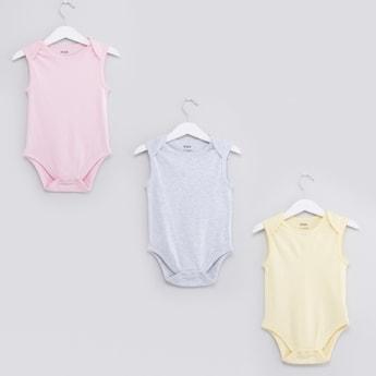 Set of 3 - Plain Sleeveless Bodysuits with Round Neck