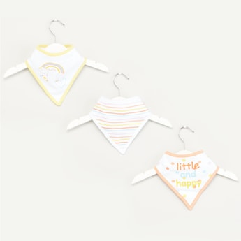 Set of 3 - Printed Bib with Snap Button Closure