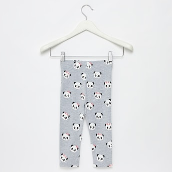 All-Over Panda Print Leggings with Elasticised Waistband
