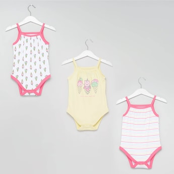 Set of 3 - Printed Strappy Bodysuits
