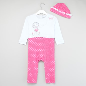 Mummy Loves Me Graphic Print Round Neck Sleepsuit with Cap