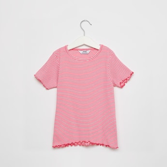 Ribbed T-shirt with Stripes and Short Sleeves
