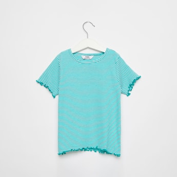 Striped T-shirt with Short Sleeves and Ribbed Hem