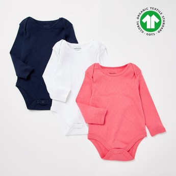Set of 3 - Textured GOTS Organic Cotton Round Neck Pointelle Bodysuit