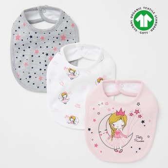 Pack of 3 - Printed Bib with Button Closure