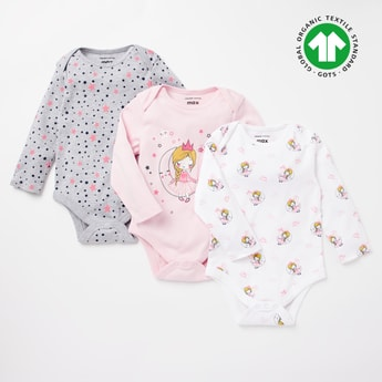 Set of 3 - Princess Print Bodysuits with Round Neck and Long Sleeves