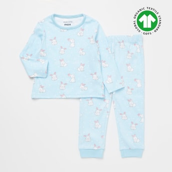 Printed GOTS Organic Cotton Round Neck T-shirt and Pyjama Set