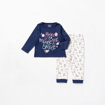 Floral Print Long Sleeves T-shirt and Jog Pants Set