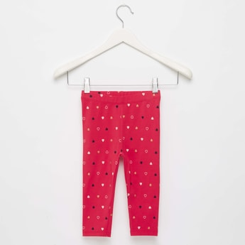 All-Over Heart Print Leggings with Elasticised Waistband