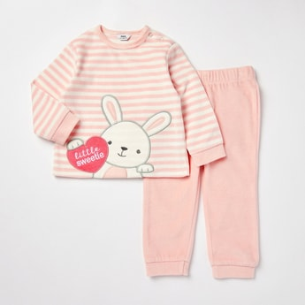 Striped Round Neck T-shirt and Full Length Pyjama Set